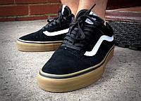 Кеды Vans Old Skool черные с коричневой подошвой