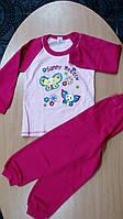 Детская теплая пижама на баечке для девочки Бабочки малиновая 104 размер