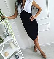 Платье оригинальное черно-белое