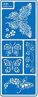 """Трафарет для нанесения рисунка на торт маленький №231 """"Бабочки"""" (код 02427)"""