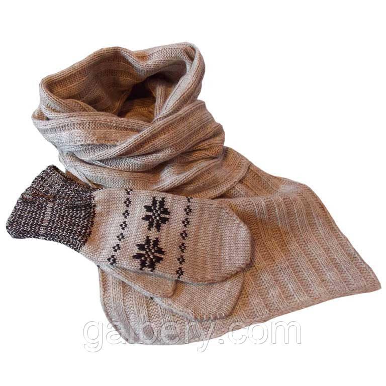 В'язаний шарф - петля і рукавиці c норвезькими орнаментами