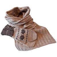 Вязаный шарф - петля и  варежки c норвежскими орнаментами