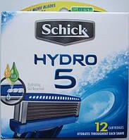 Лезвия Schick Hydro 5, 12 Cartridges, в упаковке, из США
