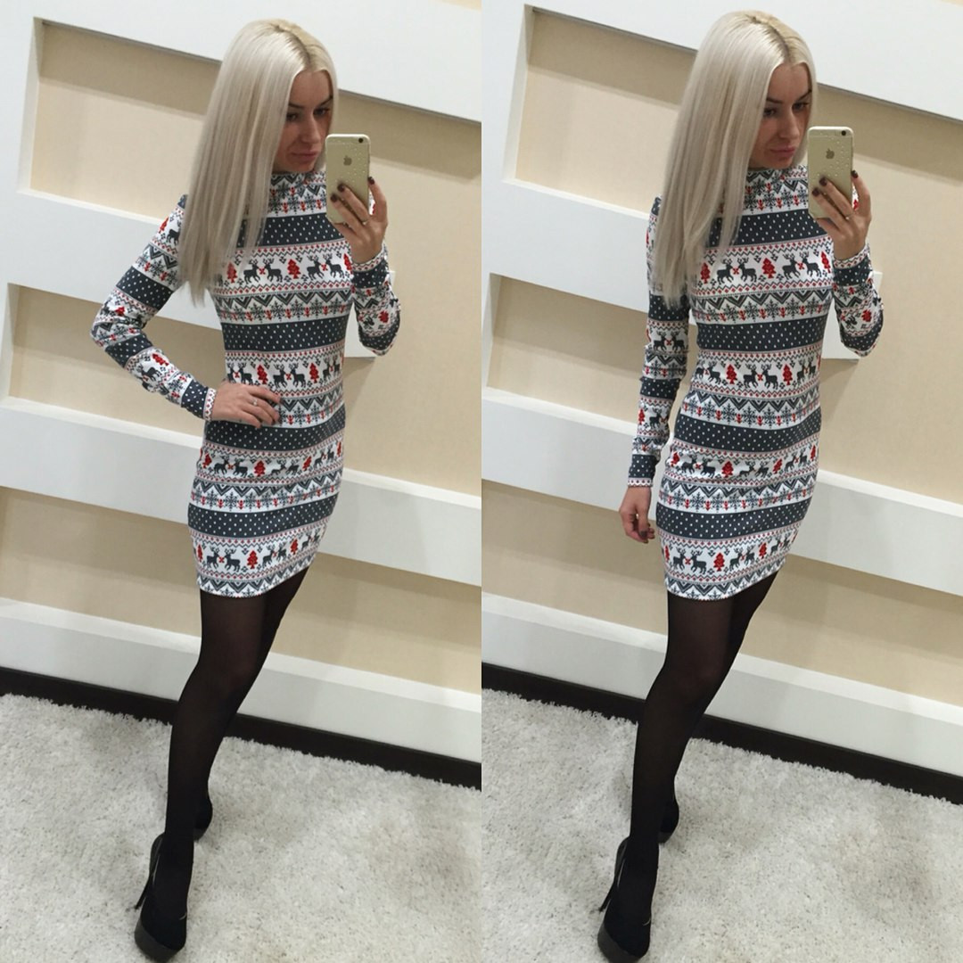 07ca59e4f53 Короткое платье с оленями и снежинками — купить недорого в Харькове ...