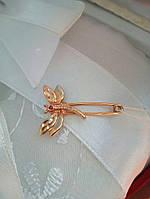 Золотая булавка со стрекозой