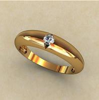 Гладкое обтекаемое венчальное золотое кольцо 585* пробы с камнем