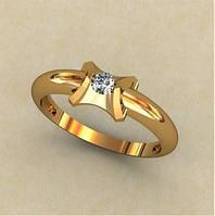 Золотое венчальное кольцо 585* пробы с интересным кастом