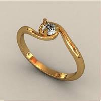 Закрученное золотое венчальное кольцо 585* пробы