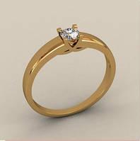 Милое золотое венчальное кольцо 585* пробы с камнем