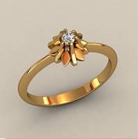 Прекрасное золотое венчальное кольцо 585* пробы с кастом в виде бутона