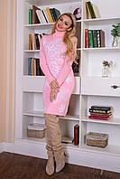 Женское вязаное розовое платье Снежинка Modus   44-48 размеры