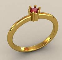 Классическое золотое венчальное кольцо 585* пробы