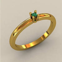 Уплотненное золотое венчальное кольцо 585* пробы