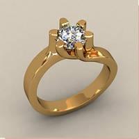 Солидное золотое венчальное кольцо 585* пробы