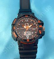 Часы Casio G-Shock GW A1100 черные с оранжевым мужские водонепроницаемые противоударные подсветка календарь