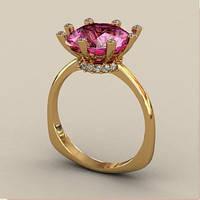 Изящное золотое венчальное кольцо 585* пробы с крупным камнем