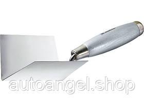 Мастерок с нержав. стали, 80 х 60 х 60 мм, для внутренних углов, деревянная ручка MTX 863089