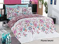 Комплект постельного белья евро сатин  Altinbasak Flores Beuas