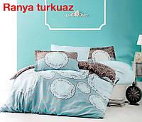Комплект постельного белья евро сатин  Altinbasak Ranua Turkuaz
