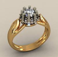 Прекрасное прочное золотое венчальное кольцо 585* пробы с крупным камнем