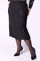 Модная женская юбка черного цвета батал 0165