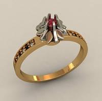 Притязательное золотое венчальное кольцо 585* пробы