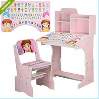 Детская растущая парта B 2071-18 со стульчиком, английский алфавит, розовая