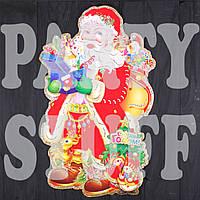 Новогодние украшения на окна Дед Мороз 70х55 см