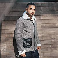 Куртка серая с белым, тёплая зима на молнии.