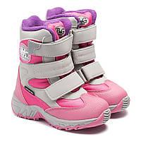 Зимние сапоги B&G для девочки, розовые, размер 22-27