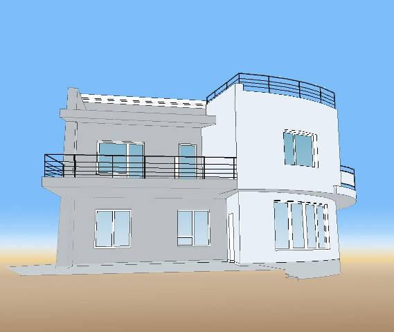 Дизайн-эскиз фасада в стиле постмодерн