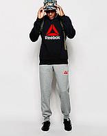Мужской    костюм Reebok чёрный свитшот треугольник