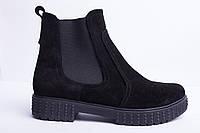 Ботинки из натуральной черной замши №362-2 сандра, фото 1