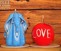 Набор свечей Фен-Шуй на подарок или сувенир. Ручная робота две резные свечи.