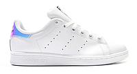 "Женские Кроссовки Adidas Stan Smith ""White Silver"" - ""Белые Серебристые"" (Копия ААА+), фото 1"