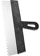 Шпатель из нержавеющей стали, 200 мм, зуб 4х4 мм, пластмассовая ручка СИБРТЕХ 85456