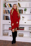 Теплое вязаное женское бордовое платье Кокетка Modus 44-48 размеры