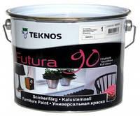 Эмаль уретан-алкидная TEKNOS FUTURA 90 универсальная, белый (база 1), 0,9л
