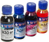 Комплект чернил WWM HP H30/BP, H34/C, H34/M, H34/Y, 100мл (H30/34SET-2)