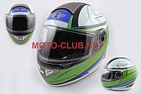 """Мотошлем-интеграл   """"KOJI""""   (mod:550) (premium class) (size:XL, бело-зелёный)"""
