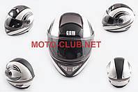 """Мотошлем-интеграл   """"KOJI""""   (mod:550) (premium class) (size:XL, бело-черный)"""