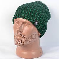 Модна в'язана  шапка на  флісі  Adidas - зелена