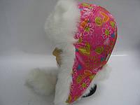 """Шапка-ушанка на меху на девочку """"сердце розовое"""""""