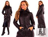 Женское длинное теплое пальто плотная плащевка на синтепоне, фото 1