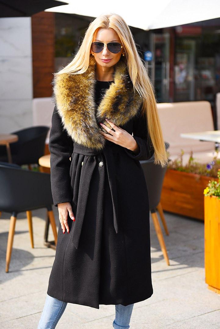 Зимнее кашемировое пальто с мехом под енота  продажа c213b54d1fe8c
