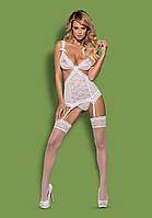 Сексуальный кружевной корсет SWANITA CORSET Obsessive (Обсессив) белый