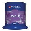 Диск verbatim dvd+r 4,7gb 16x cake 100 шт (43551)
