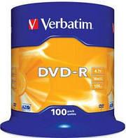Одноразовые диски verbatim dvd-r 4,7 Гб 16x cake 100 шт (43549)