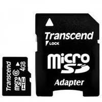 Карта памяти transcend microsd 4 Гб класс 6 с sd адаптером