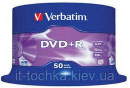Диск verbatim dvd+r 4,7gb 16x cake 50 шт. (43550)